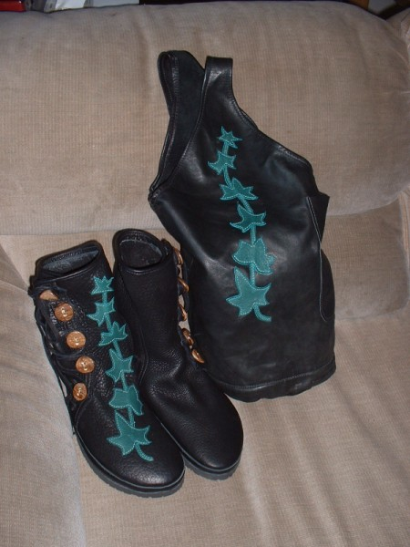5 button black buffalo moccasins and ivy sleazebag