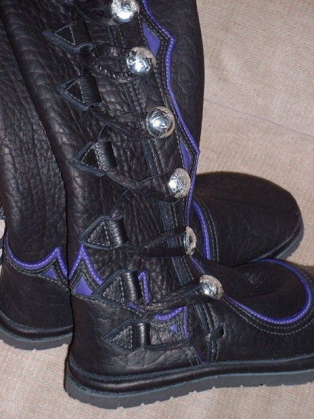 black buffalo with purple highlight & silver buttons.. closeup