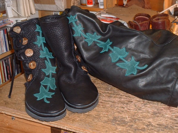 black buffalo w/ black buff trim green ivy overlay and dyed antler buttons